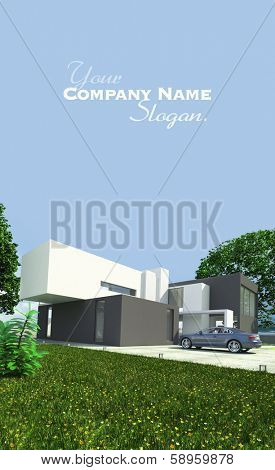 3D rendering of a brandless luxurious car parked by a magnificent modern house