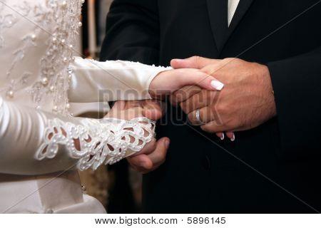 Groom And Bride Hands