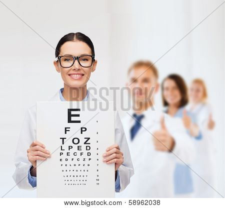 healthcare, advertisement and medicine concept - smiling female doctor in eyeglasses with eye chart