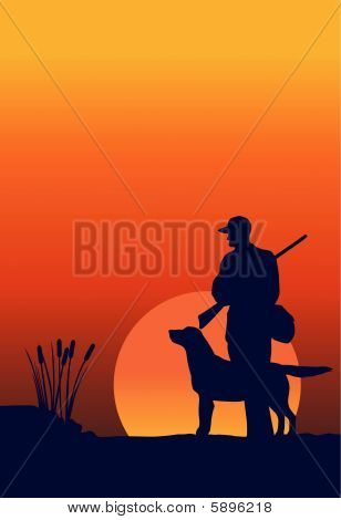 Hunter And Dog At Dawn