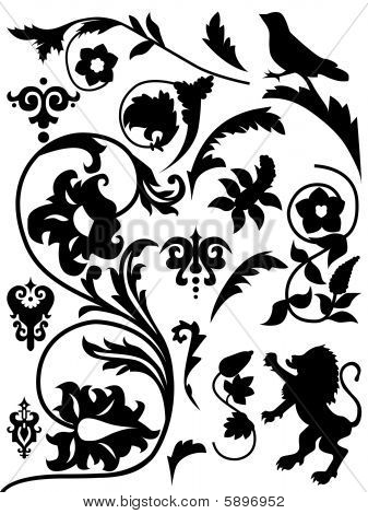 Set of antique elements graphic vector illustration poster