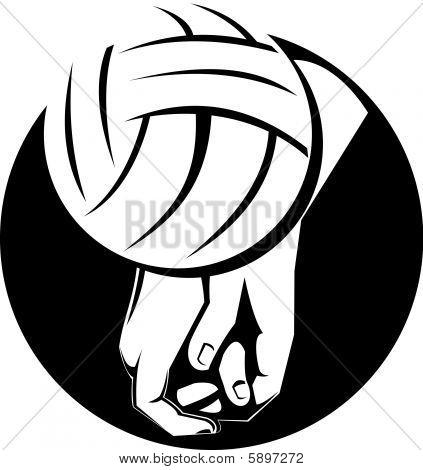 Jugador de voleibol golpeando la bola