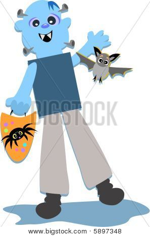 Here is a blue funny Halloween Monster trick or treating with his pet bat and spider goodies bag. poster