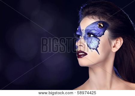 Fashion Make Up. Butterfly Makeup On Face Beautiful Woman. Art Portrait.