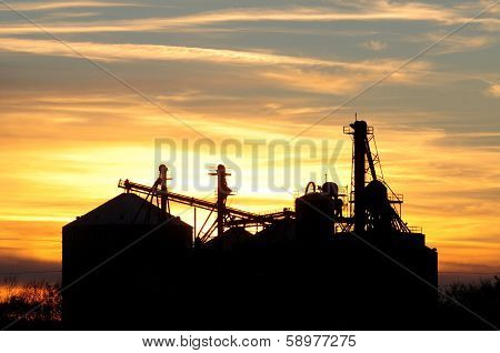 Silhouette of grain elevator