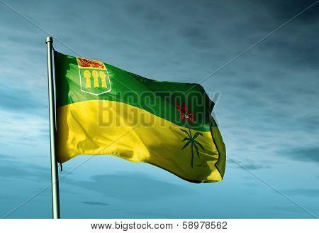 Saskatchewan (Canada) flag waving on the wind