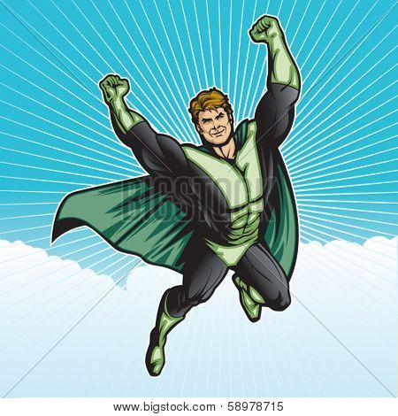 Generic superhero figure flying in the sky.  Layered & easy to edit. See portfolio for similar images.