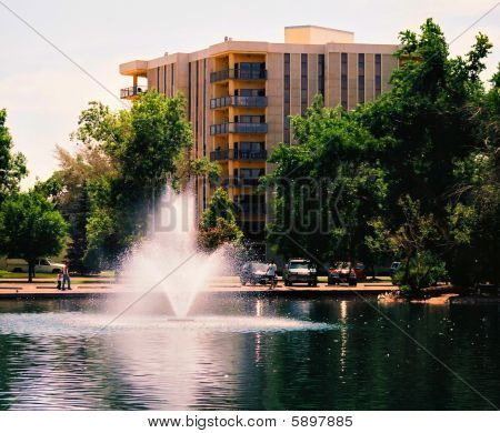 Majestic water fountains in front of the Park Plaza Condo building near Gibson Park