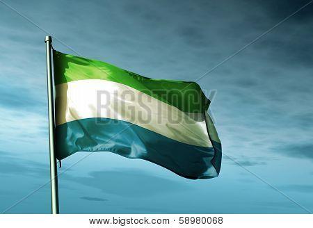 Sierra Leone flag waving on the wind
