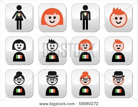 St Patricks Day, Irish people with flags and ginger hair buttons