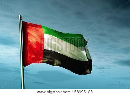 United Arab Emirates flag waving on the wind