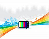 retro television with abstract urban wave line vector rainbow composition poster