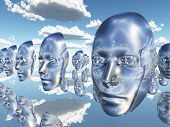 Disembodied faces or masks hover in surreal scene poster
