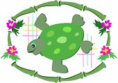 This Green Sea Turtle is surrounded by a bamboo frame, tropical flowers, and colorful grids. poster