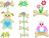 Here is a collection of bone decorations with flowers and animals. poster