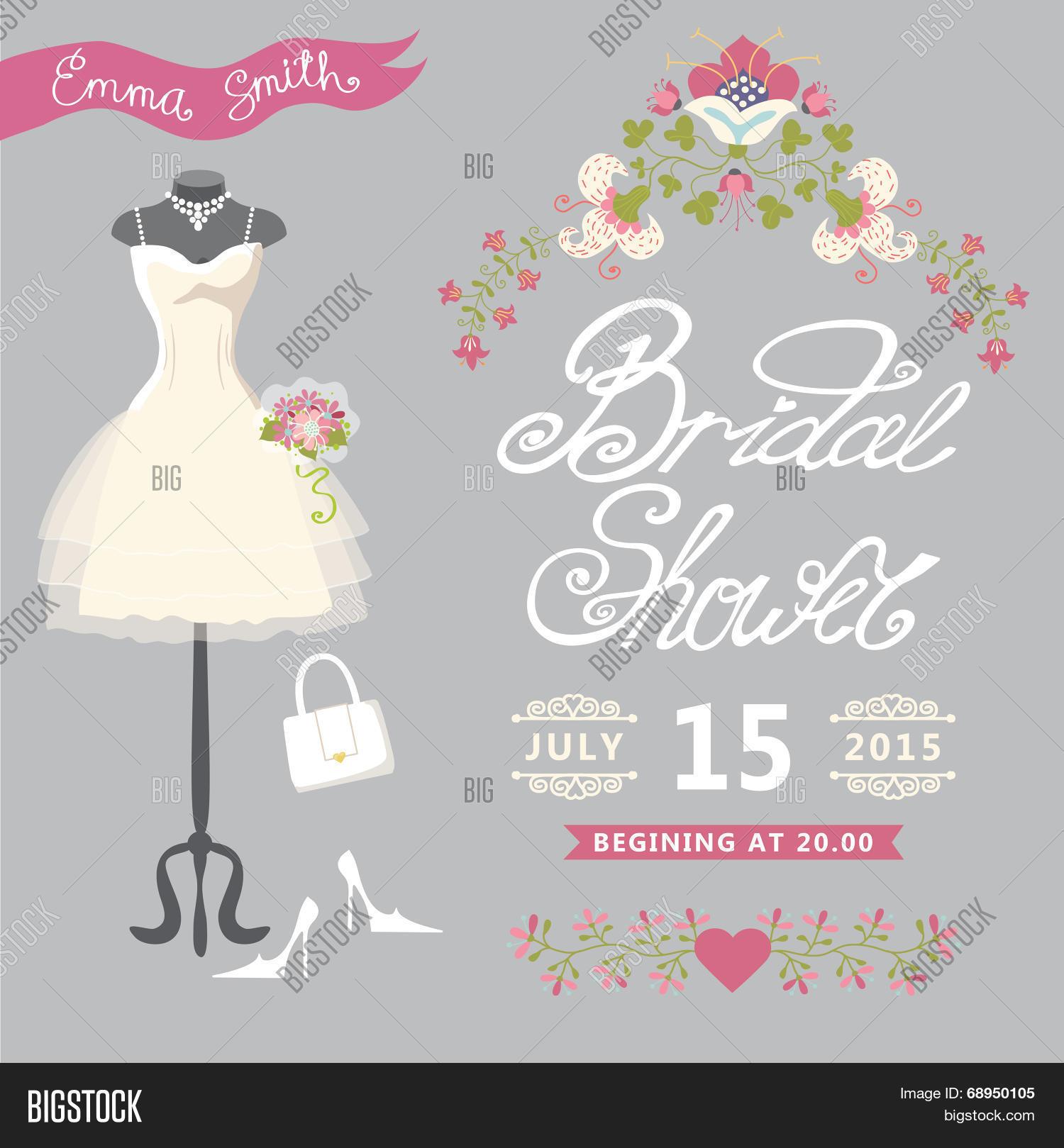 Bridal Shower Card Vector Photo Free Trial Bigstock