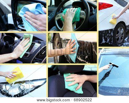 Washing car collage