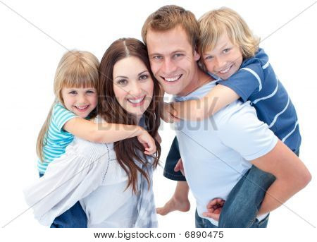 Portrait Of Family Enjoying Piggyback Ride against a white background poster