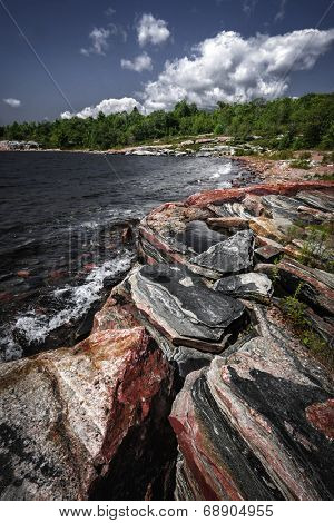 Georgian Bay landscape with rugged rocky lake shore near Parry Sound, Ontario, Canada. poster