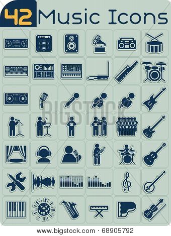42 Music Icons Vector Set