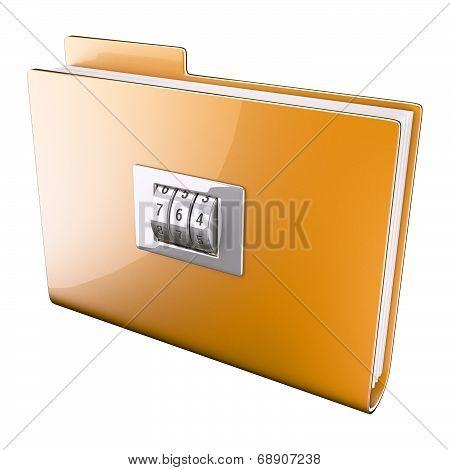 Yellow folder closed on cipher