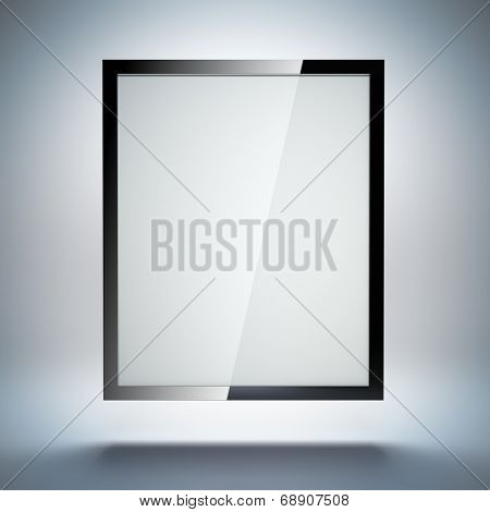 A 3d illustration blank template layout of abstract tablet pc or electronic photo frame on simple background.