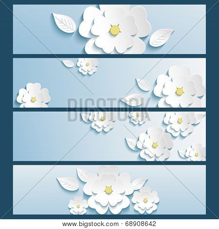 Set Of Banners Blue With 3D Flower Sakura And Leaf