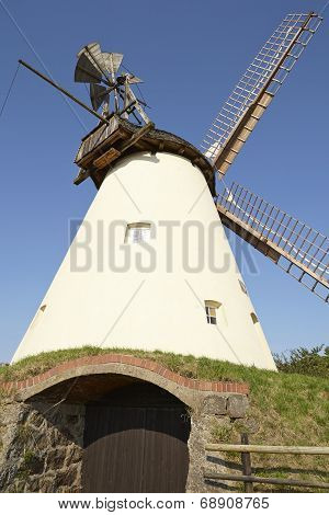 The windmill Suedhemmern - South Hemmern (Hille Germany) is a dutch type of windmill and is part of the Westphalia Mill Street (Westfaelische Muehlenstrasse). poster