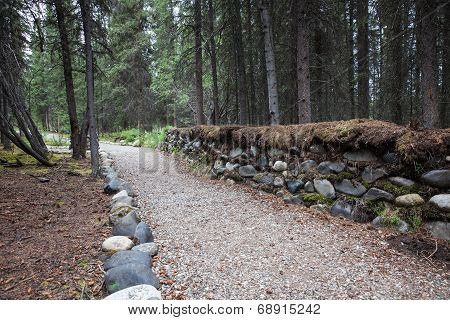 Path with a stone wall