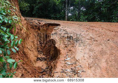 Road Landslide Damage in rural north Thailand. poster