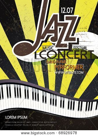 music festival poster of jazz and piano template poster