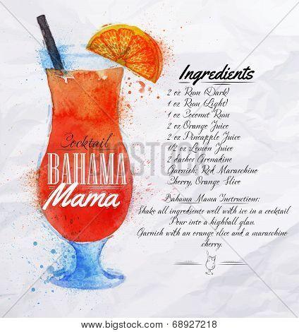 Bahama Mama Cocktails Watercolor