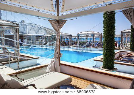 MEDITERRANEAN - July 9:  Pool deck of luxury Princess Cruises ship