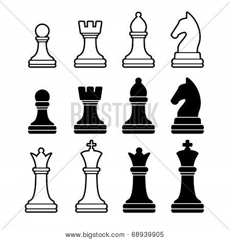 Chess Pieces Including King Queen Rook Pawn Knight and Bishop. Vector Icons Set