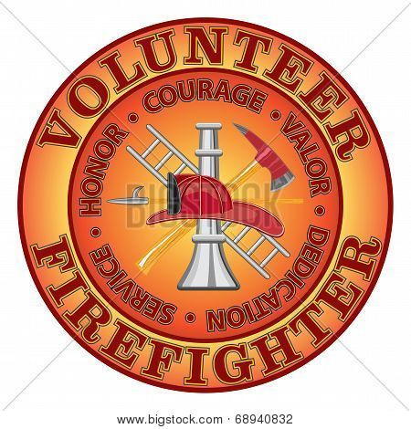 """Fire department or volunteer firefighter design with firefighter tools symbol encircled by """"Honor, Courage, Valor, Dedication and Service"""" motto or slogan. poster"""