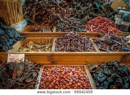Choice Of Dried Chili In Oaxaca Market, Mexico
