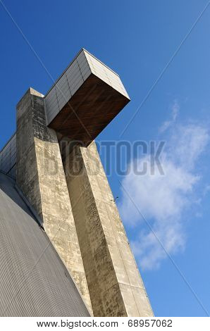 TUSTIN, CALIFORNIA - MAY 15, 2013: Blimp Hangar 1 at the former USMCAS. Closeup of the massive concrete door support. The hangar is slated for preservation and the centerpiece of a new Regional Park.