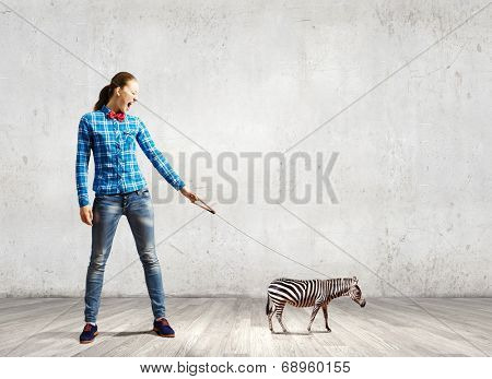 Young woman in casual holding zebra on lead poster