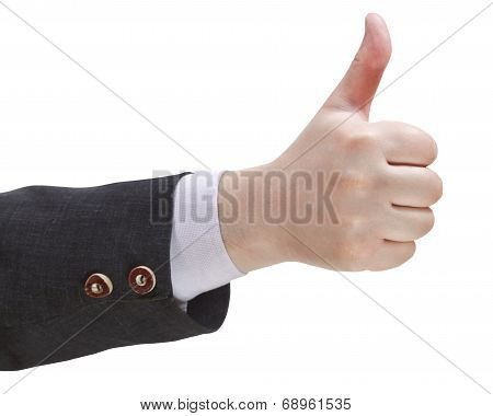 thumbs-up sign - hand gesture isolated on white background poster