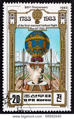 Postage Stamp North Korea 1982 Montgolfier Brothers Balloon