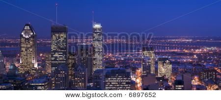 Downtown Panorama Skyline Montreal At Dusk Cityscape With Skyscrapers Lights