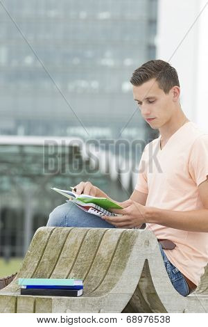 Young Student Is Learning Outdoor