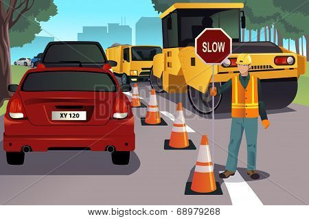 Flagger Working On Road Construction