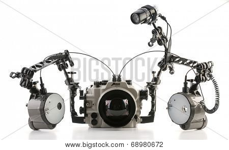 Ankara, Turkey - June 11, 2012: Nexus D300 underwater housing for Nikon D300 cameras and Inon strobes isolated on white background.