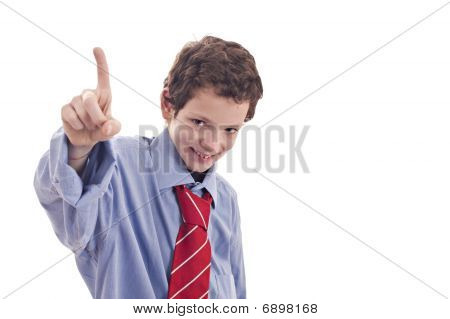 Small Businessman, Raising His Hand With A Finger In The Air