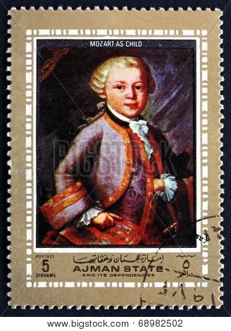 Postage Stamp Ajman 1972 Wolfgang Amadeus Mozart As Child