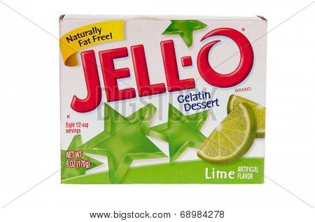 Hayward, CA - July 24, 2014: package of Jello brand gelatin, lime flavor