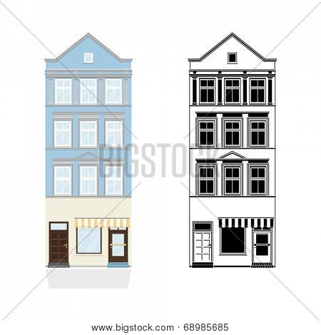 Old Town House with Shop. Vector Illustration of blue townhouse with shop from 19th century. Color and black monochrome versions on separate layers.