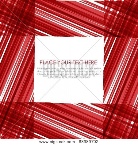 Abstract vector frame. Red stripes design.