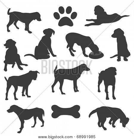Black silhouettes of dogs